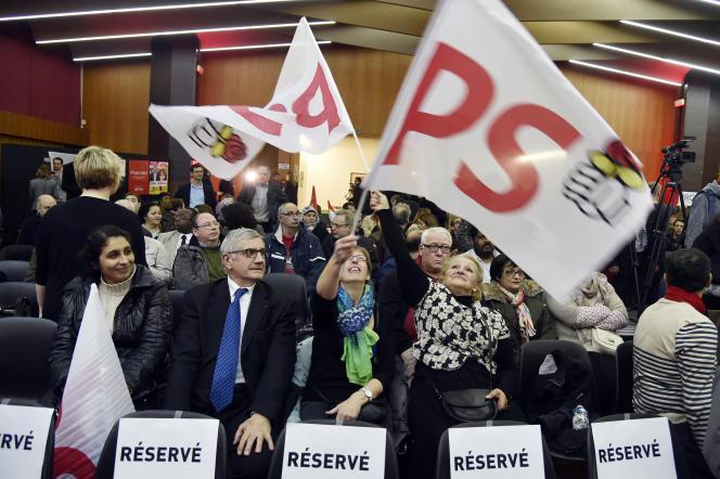 Meeting du PS à Bondy (Seine-Saint-Denis) le 26 mars, lors des élections départementales.