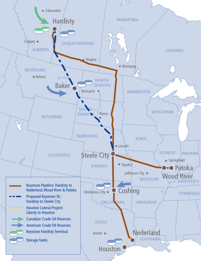 Le dernier tracé de l'oléoduc Keystone XL (en pointillés bleus), proposé par TransCanada