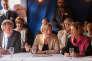 Virginie Calmels (LR, au centre), tête de la liste d'union de la droite et du centre pour les régionales, le 20 octobre à Pau pour présenter la liste départementale « Génération Nouvelle Région » (Pyrénées-Atlantiques) conduite par l'élue MoDem Monique Sémavoine (à droite MoDem,  en présence de François Bayrou