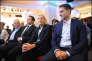Marine Le Pen lors du lancement du collectif Audace, avec Antoine Mellies (président) et Thibaut Monnier (secrétaire général), à Paris le 18 octobre2014.