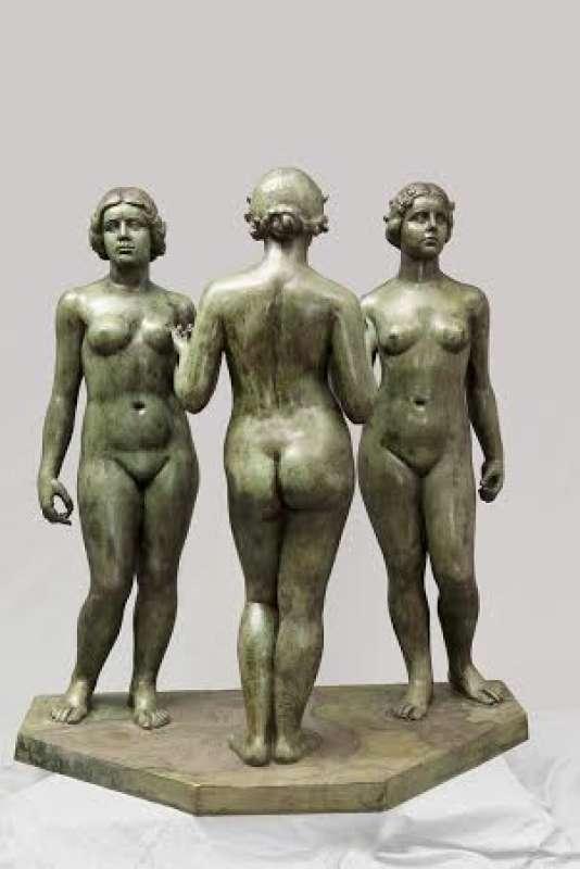 Les trois nymphes de la prairie, d'Aristide Maillol, 1930-1937, en bronze, exposées au Musée Maillol.