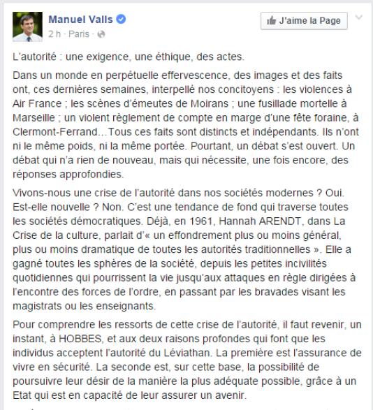 Tribune de Manuel Valls, publiée sur Facebook le jeudi 5 novembre.