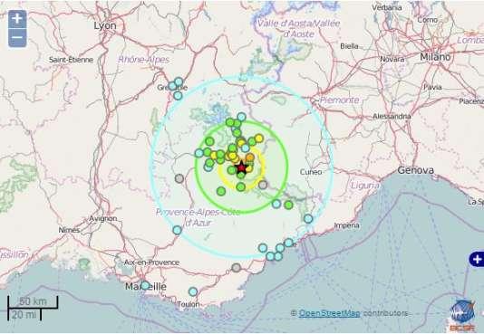 Carte du séisme ressenti à 4 kilomètres au nord de Barcelonnette.