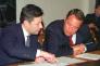 Mikhaïl Lessine (à droite), à Moscou en août 2000.