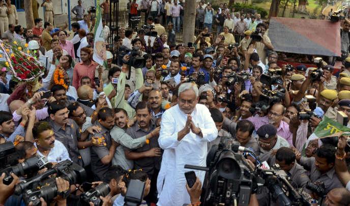 Nitish Kumar, le ministre en chef du Bihar et opposant du parti de Narendra Modi, à Patna (Inde), le 8 novembre.