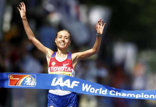 La Russe Olga Kaniskina lors des championnats du monde d'athlétisme, en 2011.