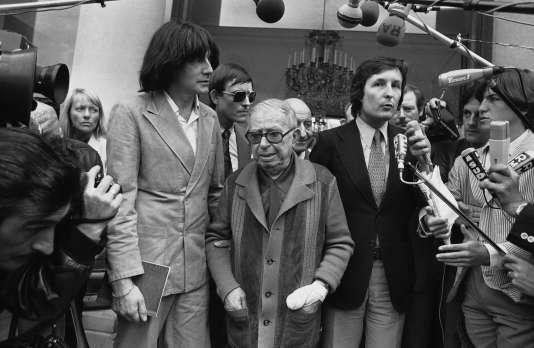 André Glucksmann et Jean-Paul Sartre, à l'Elysée, en 1979.