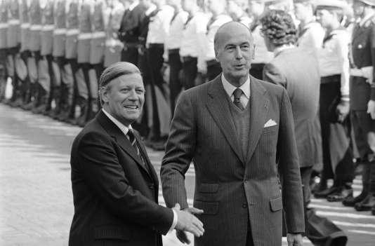 En 1979, Helmut Schmidt avec le président français Valéry Giscard d'Estaing à Bonn.