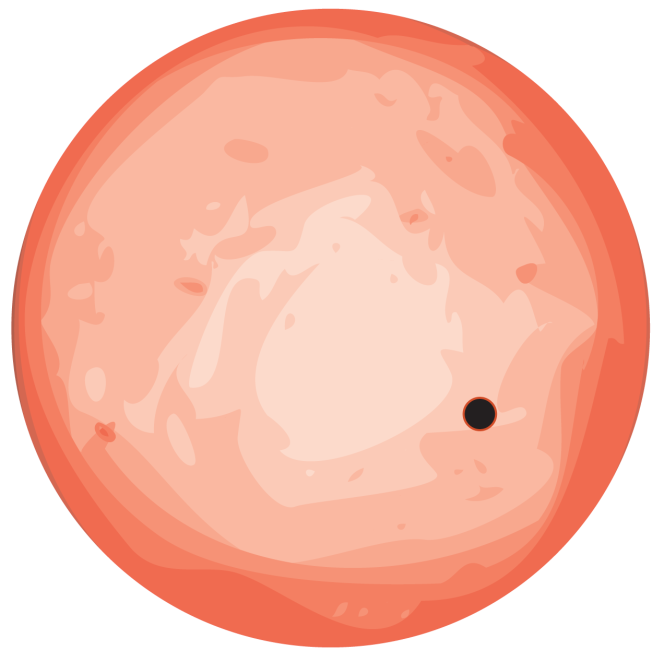 Représentation de l'étoile GJ 1132 (en rouge) et d'une planète gravitant autour (en noir, à l'échelle)