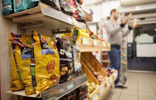 Des produits fabriqués dans des colonies israéliennes, dans le rayon d'un supermarché de Tel-Aviv.