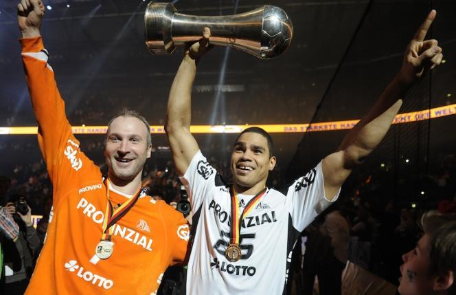 Thierry Omeyer et Daniel Narcisse en 2013, lorsqu'ils jouaient pour le club allemand de Kiel.