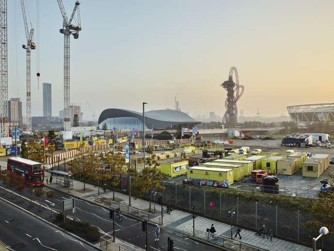 Le site olympique des JO d'été 2012, au nord-est de Londres, au moment des travaux d'aménagement.