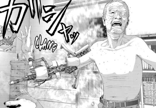 Une planche de « Last hero Inuyashiki » représentant le héros.