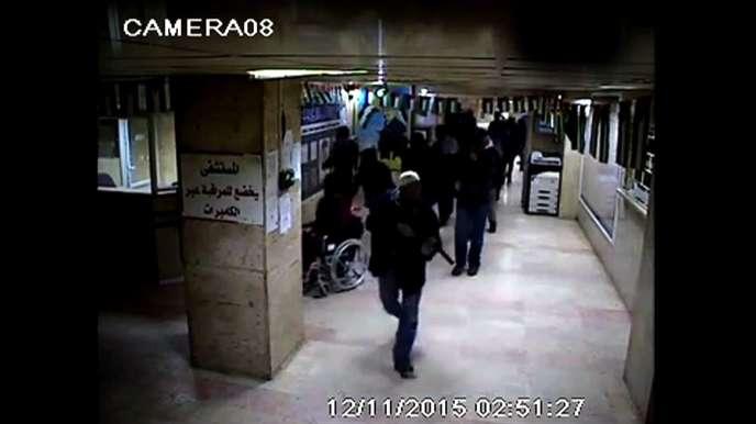 Des images de vidéosurveillance montrant le raid israélien dans l'hôpital Al-Ahli, à Hébron, le 12 novembre.
