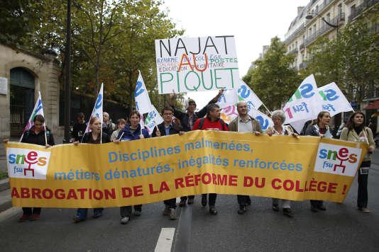 Manifestation contre la réforme du collège, le 17 septembre à Paris.