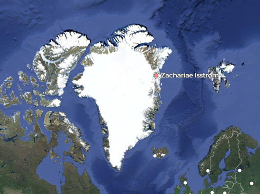 Localisation du glacier Zacharie, au nord-est du Groenland