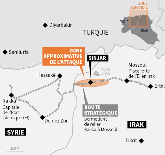 Les Kurdes tentent de reprendre à l'Etat islamique la portion de route située au niveau de Sinjar permettant de relier Mossoul à Rakka.