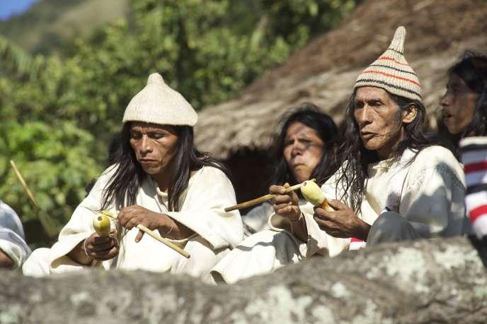 Des Indiens Kogis dans la vallée de Mendihuaca (Colombie).