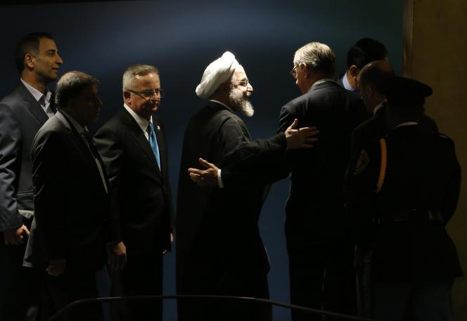 Hassan Rouhani (au centre) durant une assemblée générale des Nations Unies à New-York le 28 septembre 2015.