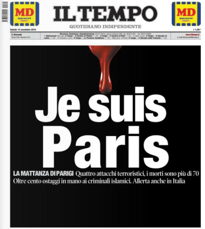 La «une» du quotidien italien «Il Tempo» ce samedi.