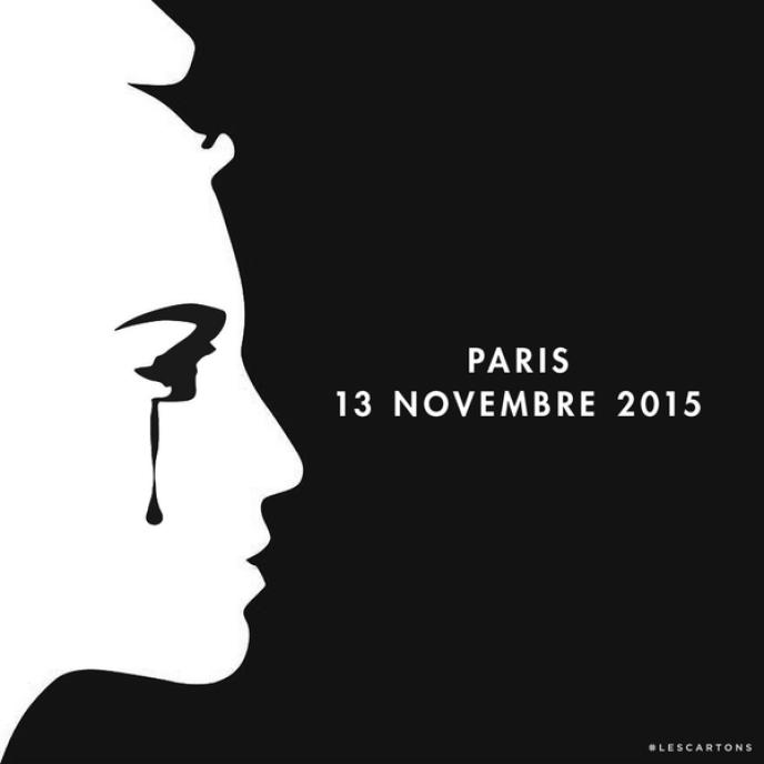 Cette image a été partagée à de nombreuses reprises sur les réseaux sociaux après les fusillades du 13 novembre.