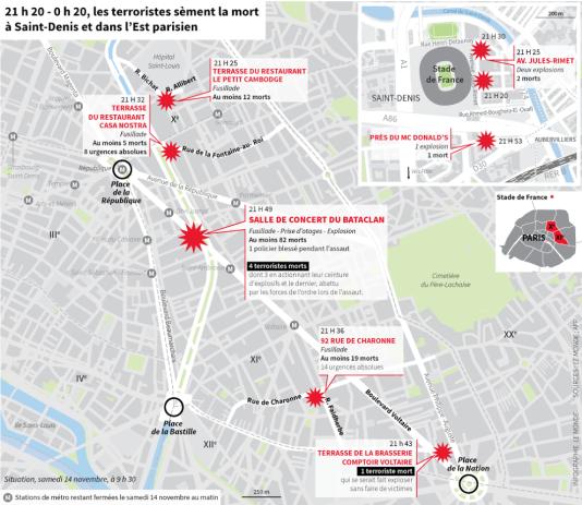 La carte des attentats du 13 novembre à Paris.