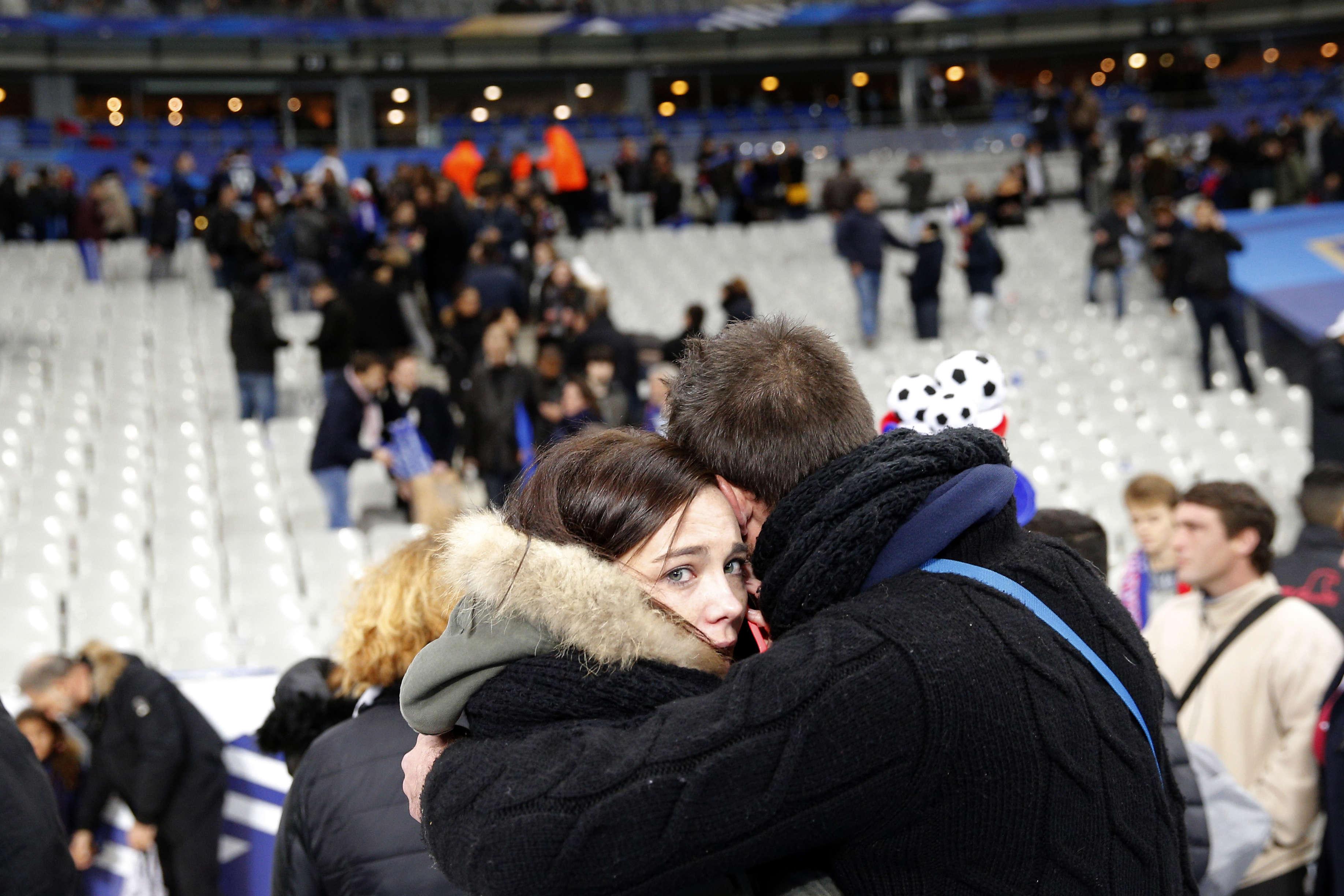 Au moment de l'évacuation du Stade de France.