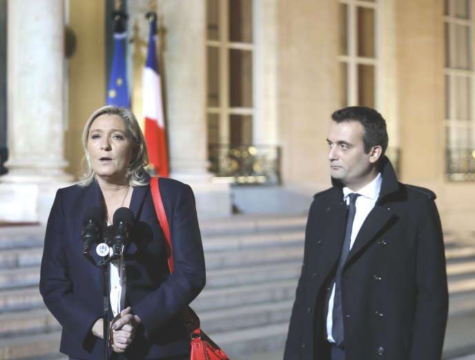 Marine Le Pen et Florian Philippot, à l'Elysée, le 15 novembre.