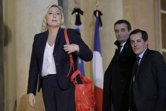 Marine Le Pen, Nicolas Bay et Florian Philippot, le 15 novembre à l'Elysée.