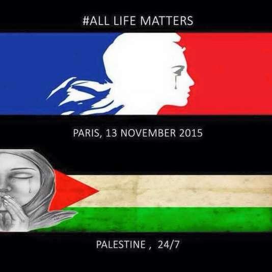 « Toutes les vies importent. Paris, 13 novembre 2015. Palestine, 24/7 ». Image publiée sur le site propalestinien Free Palestine.