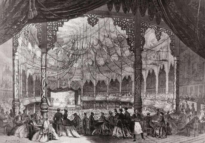 L'intérieur du Bataclan à Paris, vers 1865.