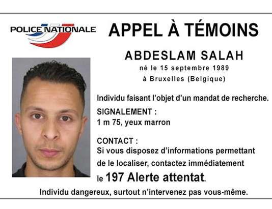 L'avis de recherche concernant Abdeslam Salah.