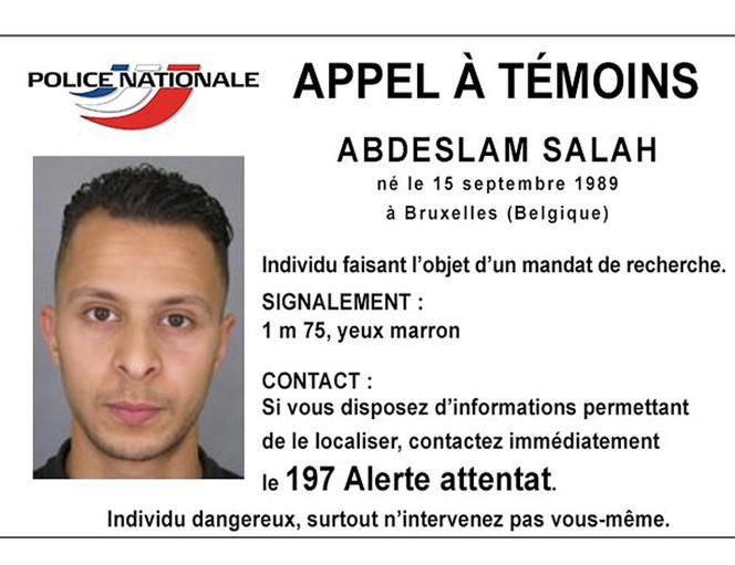 Avis de recherche de Salah Abdeslam, diffusé par la police française.