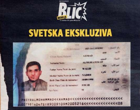 """Photo de la """"une"""" du magazine serbe Blic montrant un passeport syrien trouvé sur les lieux des attentats du 13 novembre à Paris. AFP PHOTO / ANDREJ ISAKOVIC"""