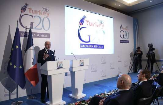 Le ministre des affaires étrangères français, Laurent Fabius, lors du G20 à Antalya, en Turquie, le 16 novembre.