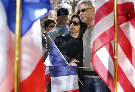 De nombreuses manifestations de soutien à Paris ont été organisées à New York après les attentats du 13 novembre.