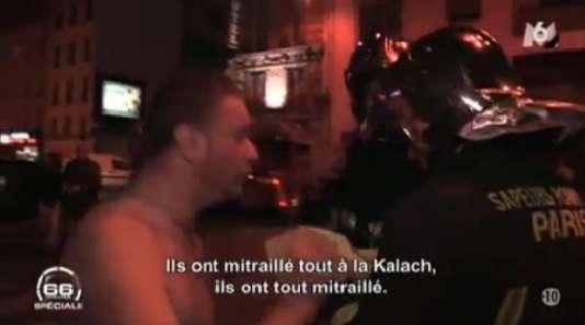 Capture d'écran du reportage de M6 montrant les pompiers arrivant rue de Charonne le soir des attentats du 13 novembre.