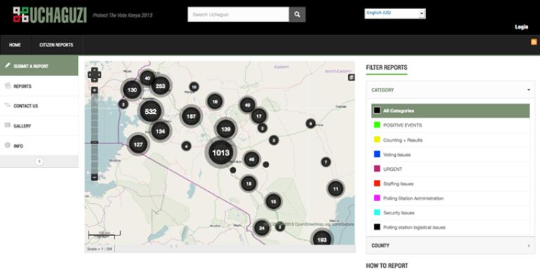 La carte mise en ligne lors de l'élection présidentielle kényane de 2013. Les points représentent les alertes reçues, vérifiées et géolocalisées.
