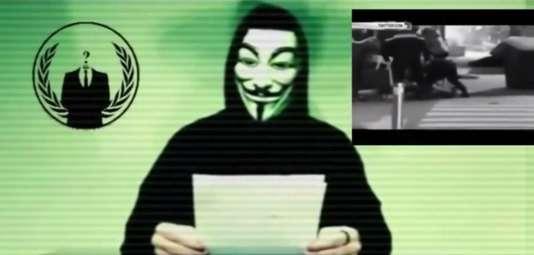 Capture d'écran d'une vidéo d'Anonymous menaçant l'Etat islamique après les attentats du 13novembre.