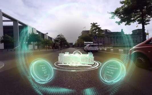 Transformés en écran, les pare-brise des voitures pourront afficher des informations historiques et touristiques (ici le Reichstag de Berlin).