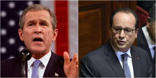 Le président américain Geroge W. Bush, le 20 septembre 2001, et le président français François Hollande, le 16 novembre 2015, s'exprimant devant le Congrès de leur pays respectifs.