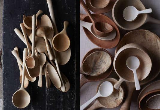 Des couverts en bois façonnées par l'artisan Joshua Vogel. Cet habitant des Catskill Mountains donne cette semaine un atelier de fabrication manuelle de cuillères.