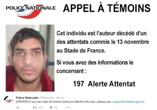Appel à témoins lancé pour identifier l'un des kamikazes du Stade de France.
