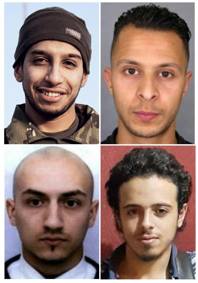 Du haut à gauche à droite dans le sens des aiguilles d'une montre : Abdelhamid Abaaoud, Salah Abdeslam, Bilal Hadfi et Samy Amimour.