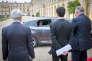 François Hollande arrive au Château de Versailles le 16 novembre 2015 pour parler devant le Parlement réuni en Congrès après la série d'attentats à Paris.