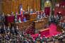 François Hollande, président de la République, parle devant le Parlement réuni en Congrès après la série d'attentats à Paris le 13 novembre 2015. Versailles, lundi 16 novembre 2015 - 2015©Jean-Claude Coutausse / french-politics pour Le Monde