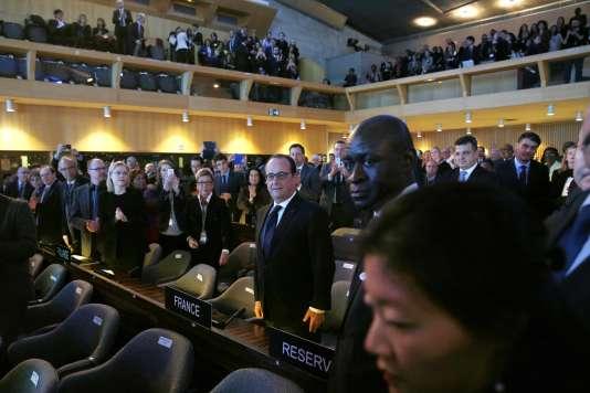 François Hollande, mardi 17 novembre, au siège de l'Unesco à Paris.