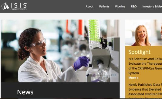 Capture d'écran du site de la société Isis Pharmaceuticals, le 19 novembre.