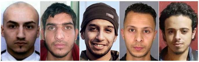 Samy Amimour (à gauche) et quatre autres terroristes ayant participé aux attentats de Paris et Saint-Denis le 13 novembre 2015