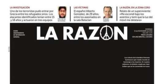 """En haut à gauche, un extrait de la photo détournée est présentée comme celle de """"l'un des terroristes""""."""